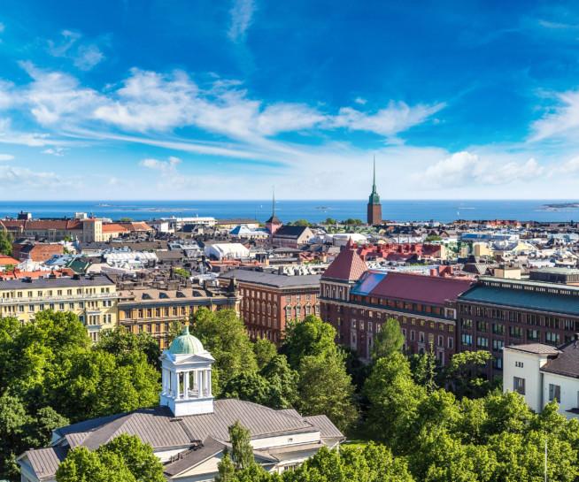 Aerial view of summery Helsinki.